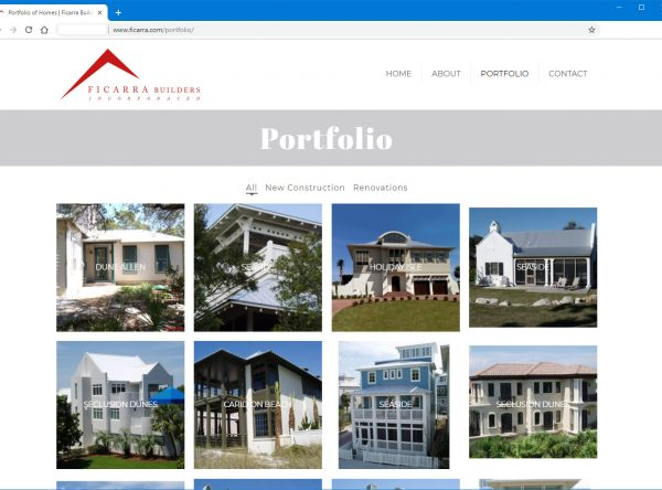 A screenshot of the Ficarra Builders website. Home builder website design in Panama City and Panama City Beach, Florida.