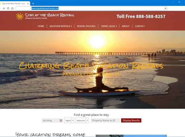 A vacation rental website design in PCB FL.