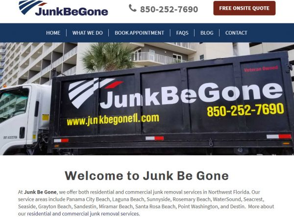 Screenshot of the new junkbegonefl.com website. Junk Be Gone offers junk removal services in Panama City Beach, Panama City, and throughout Bay County and 30A Florida.