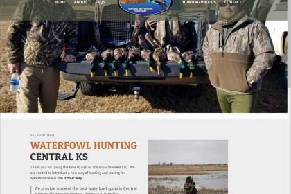 Screenshot of a hunting guide website design.