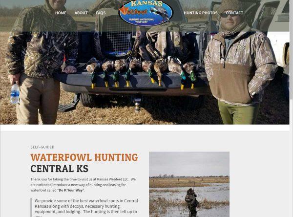 Screenshot of a hunting guide website design.