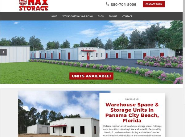Screenshot of the Max Storage website. Max Storage offers warehouse space and climate controlled self storage units in Panama City Beach, Florida.